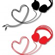 Headphone with heart, vector — Stock Vector