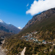 Himalayas Landscape: highland village and mountains — Stock Photo