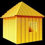 Valuable real estate: gold bars house shape — Stock Photo