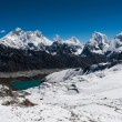 Peaks from Renjo Pass: Everest, Makalu, Lhotse, Cholatse — Stock Photo