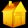 Valuable accommodation: golden house shape — Stock Photo