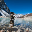 Buddhism: Stones and Sacred Lake near Gokyo — Stock Photo