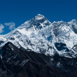Everest, Changtse, Lhotse and Nuptse peaks in Himalaya — Stock Photo