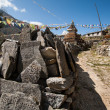 Mani stones and Buddhist stupe or chorten in Himalayas — Stock Photo