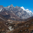 Environment: drained stream and mountains in Himalaya — Stock Photo