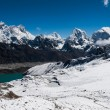 Famous peaks from Renjo Pass: Everest, Makalu, Lhotse, Nuptse — Stock Photo