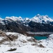 Famous peaks view from Renjo Pass: Everest, Pumori, Makalu - Stock Photo