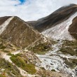 Himalaya landscape: Serpentine stream and mountains - Stock Photo