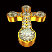 Jewelery: golden cross with diamonds over black — Stock Photo