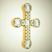 Jewelery: golden cross with diamonds — Zdjęcie stockowe