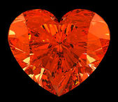 Red heart cut shape diamond over black — Stock Photo