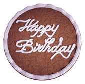 Happy birthday: top view of cake with greeting words — Stock Photo