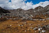 Himalaya landscape: moraine and mountain peaks — Stock Photo