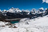 Peaks from Renjo Pass: Everest, Makalu, Lhotse, Cholatse — Stock Photo