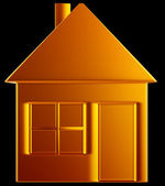 Costly home:: golden house shape — Stock Photo