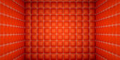 Isolation and segregation: Red stitched leather mattresses — Stock Photo