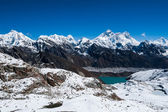Famous peaks view from Renjo Pass: Everest, Pumori, Makalu — Stock fotografie