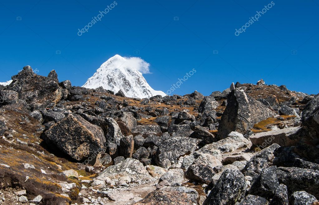 Moraine and Pumori peak in Himalayas. Trekking in Nepal  Stock Photo #11787965
