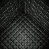 Soft room concept: Black stitched leather space — Stock Photo