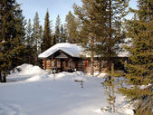 Romantic chalet in Lapland — Foto de Stock