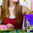 Birthday. Girl with cake and gifts — Stock Photo