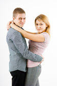 Boy and girl hugging — Stock Photo