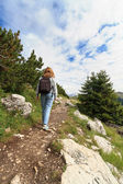 Hiker on Castellazzo mount — Stock Photo