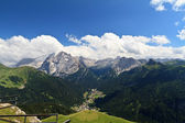 Fassa valley with Mt Marmolada — 图库照片