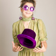 Funny girl in the hat — Stock Photo