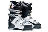 Modern professional ski boots isolated on white background — Stok fotoğraf