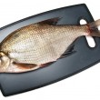 Fresh fish bream on a cutting board on a white background — Stock Photo