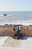 Defensive wall cannons at Essaouira, Morocco — Stock Photo