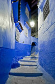 Night on city streets of Chefchaouen, Morocco — Stockfoto