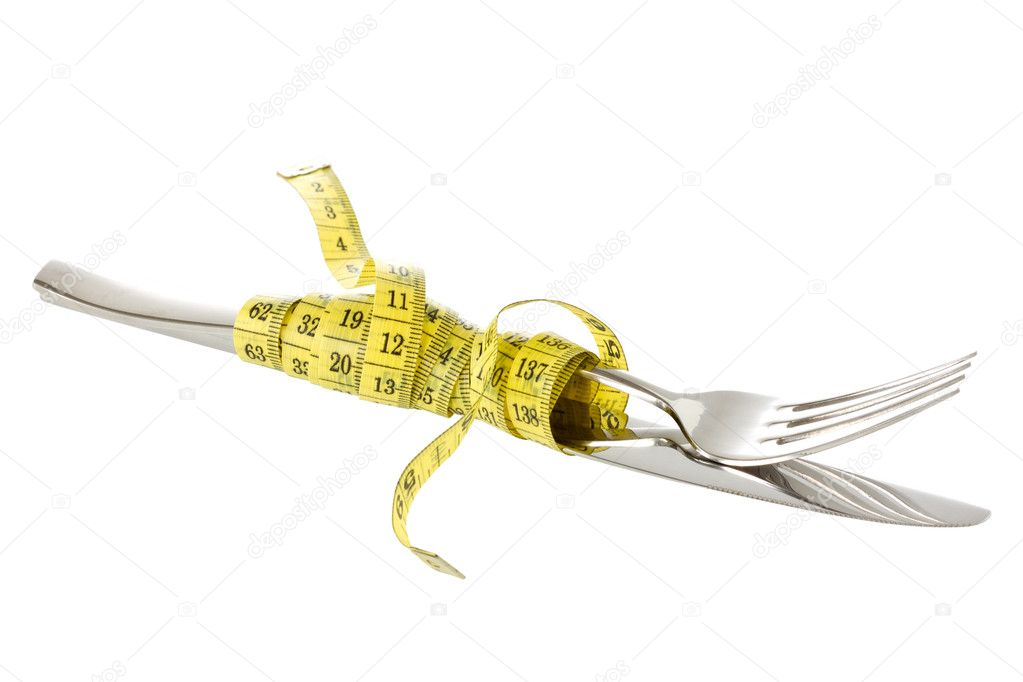 Fork and knife wrapped by measure tape. Isolated on white background — Stok fotoğraf #10955008