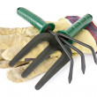 Work gloves with garden tools — Stok fotoğraf