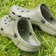 Rubber sandals on a grass — Stock Photo