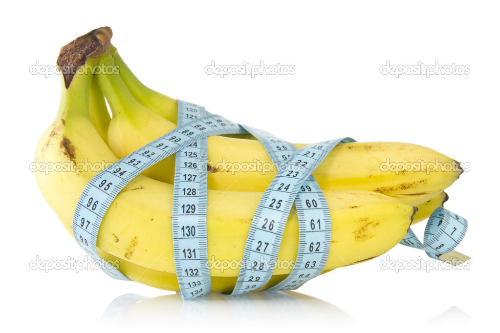 Bunch of bananas wrapped with measuring tape — Foto Stock #11160885