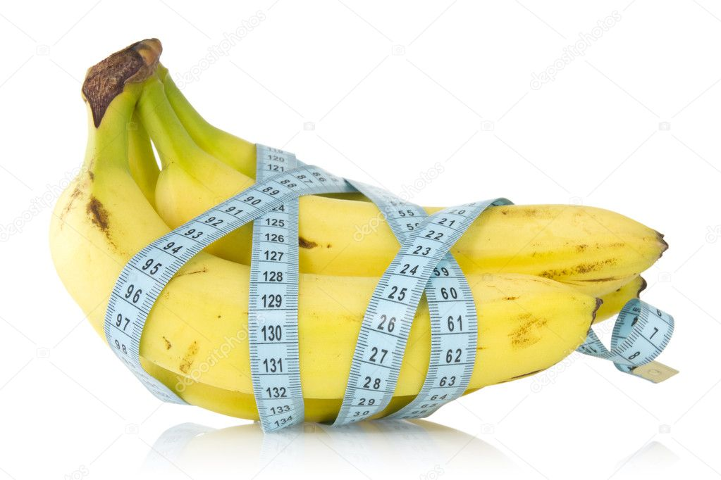 Bunch of bananas wrapped with measuring tape — Photo #11160885