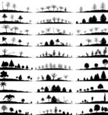 Set of landscapes of woods. — Stockvektor