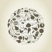 Denrée alimentaire sous la forme d'une sphère. — Vecteur