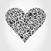 šedé srdce shromážděné z ptáků. — Stock vektor