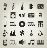 Conjunto de iconos en un tema musical. una ilustración vectorial — Vector de stock