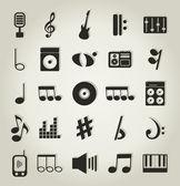 Satz von symbolen auf einem thema musik. eine vektor-illustration — Stockvektor