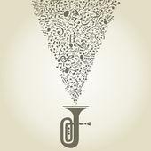 Música de notas despega desde una tubería. — Vector de stock