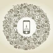 Autour de sujets d'affaires téléphone. — Vecteur