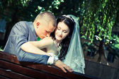 The groom kisses his bride — Stock Photo