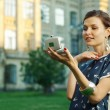 Stock Photo: Portrait of young lady with mirror. Fashion photo