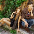 Fashion shot of a trendy boy and girl — Stock Photo