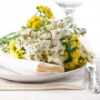 Festive table setting in yellow — Stock Photo #11464202
