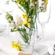 Festive table setting in yellow — Stock Photo #11464212
